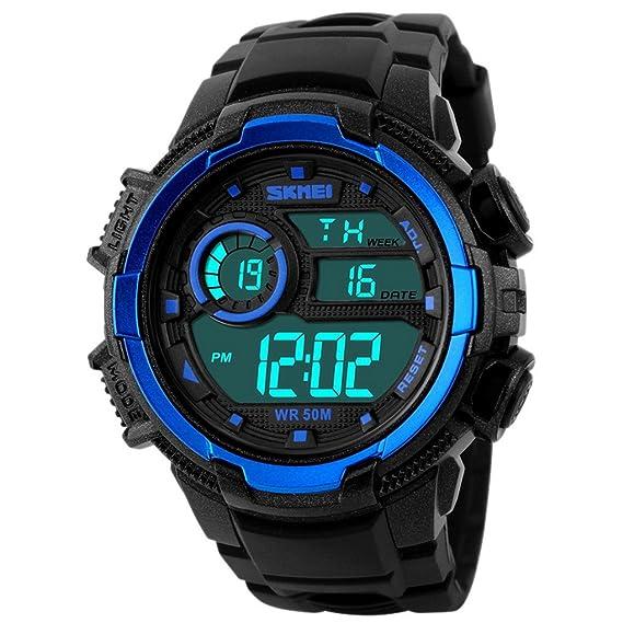 4d37416e955a SKMEI - Reloj Digital LED Deportivo Impermeable Multifunciones Alarma  Cronómetro con Doble Horarios Movimiento de 2 Movimientos - Azul   Amazon.es  Relojes