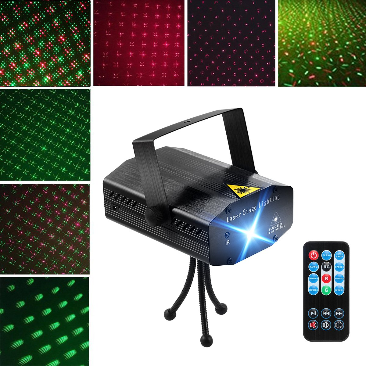 Blingco LED Projector Laser Lights, Mini Auto Flash RG Led Stage Lights Sound Activated for DJ Disco Party Home Show Birthday Party Wedding Stage Lighting with Remote Control (Black)