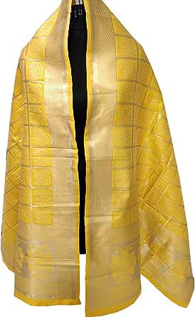 India Bandhani Yellow &Red Tie-Dye Gharchola Dupatta with Golden Zari Weave Border
