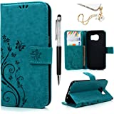 S7 Edge Case Wallet, Galaxy S7 Edge Case -MOLLYCOOCLE PU Leather Wallet with Embossed Florals Kickstand Magnetic Flip Cover Card Holders & Hand Strap Case Cover for Samsung Galaxy S7 Edge -Blue