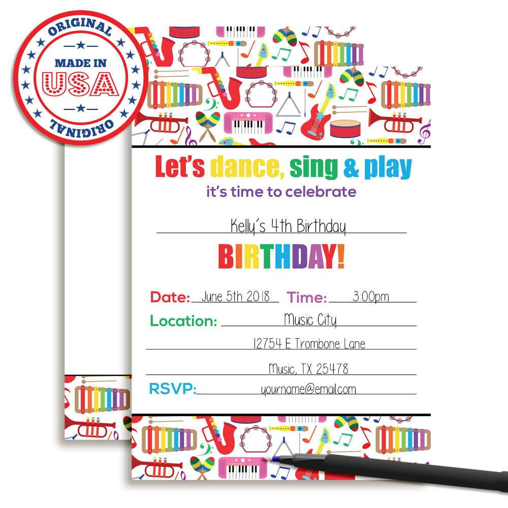 Dance and Play Musical Themed Birthday Party Celebration Fill In Invitations set of 20 by Amanda Creation (Image #3)