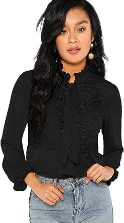 DIDK Blusa elegante de gasa para mujer, cuello alto, monocolor, manga larga, con volantes