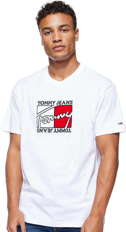 Tommy Hilfiger - DM0DM07433 YA2 - TJM Flag Script tee - Camiseta Manga Corta con APLICACION del Logo DE Tommy Jeans - para Hombre (XXL): Amazon.es: Ropa y accesorios