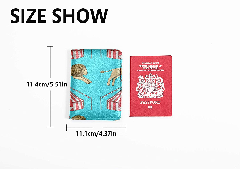 Mens Leather Passport Case Cute Cartoon Fun Childlike Hula Hoop Passport Case Waterproof Multi Purpose Print Small Passport Cover Travel Wallets For Unisex 5.51x4.37 Inch
