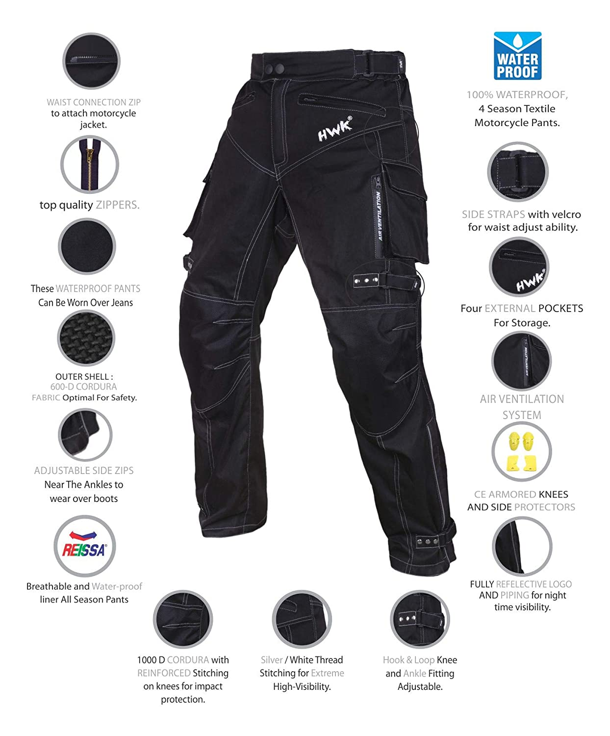 Motorcycle Pants For Men Dualsport Motocross Motorbike Pant Riding Overpants Enduro Adventure Touring Waterproof CE Armored All-Weather Waist30-32 Inseam30