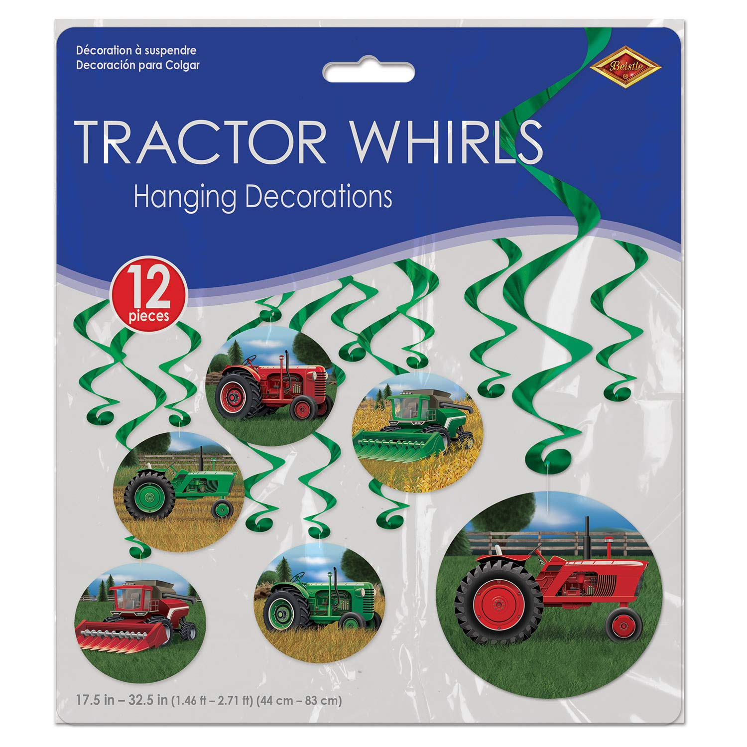 Beistle Farm Birthday Party Supplies, Assorted Farm Tractors on Hanging Whirls 17.5 Inch to 32.5 Inch, Pack 72