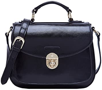 c7236438854300 Amazon.com: BOYATU Leather Satchel Handbags for Women Vintage Top Handles  Messenger Bag (Black-B): Clothing