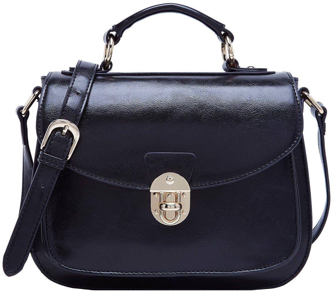 BOYATU Womens Leather Handbags Shoulder Bag Top Handle Tote Satchel for Ladies (Black-B)