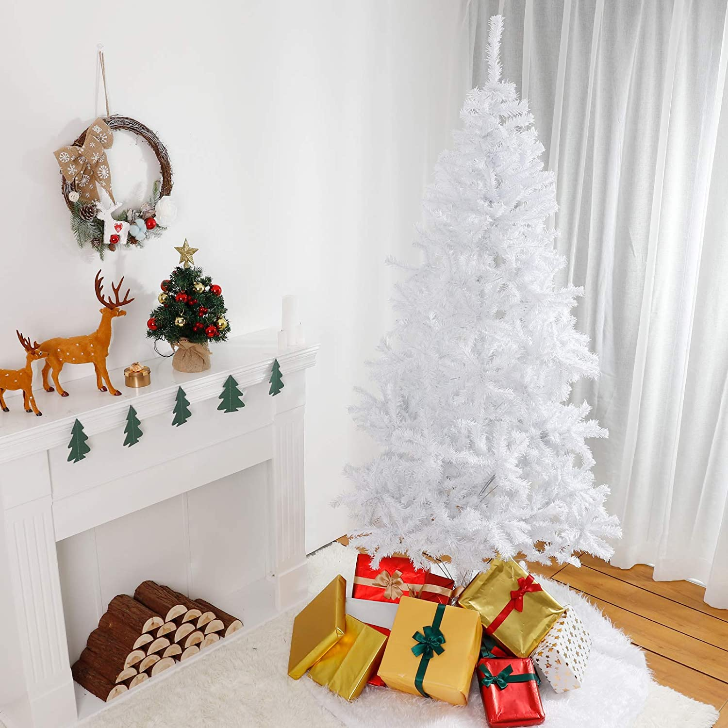 Yorbay Artificial Christmas Tree with Metal Stand White PVC Xmas Tree for Christmas Decoration Party Home Indoor Outdoor Reusable 180cm 6ft