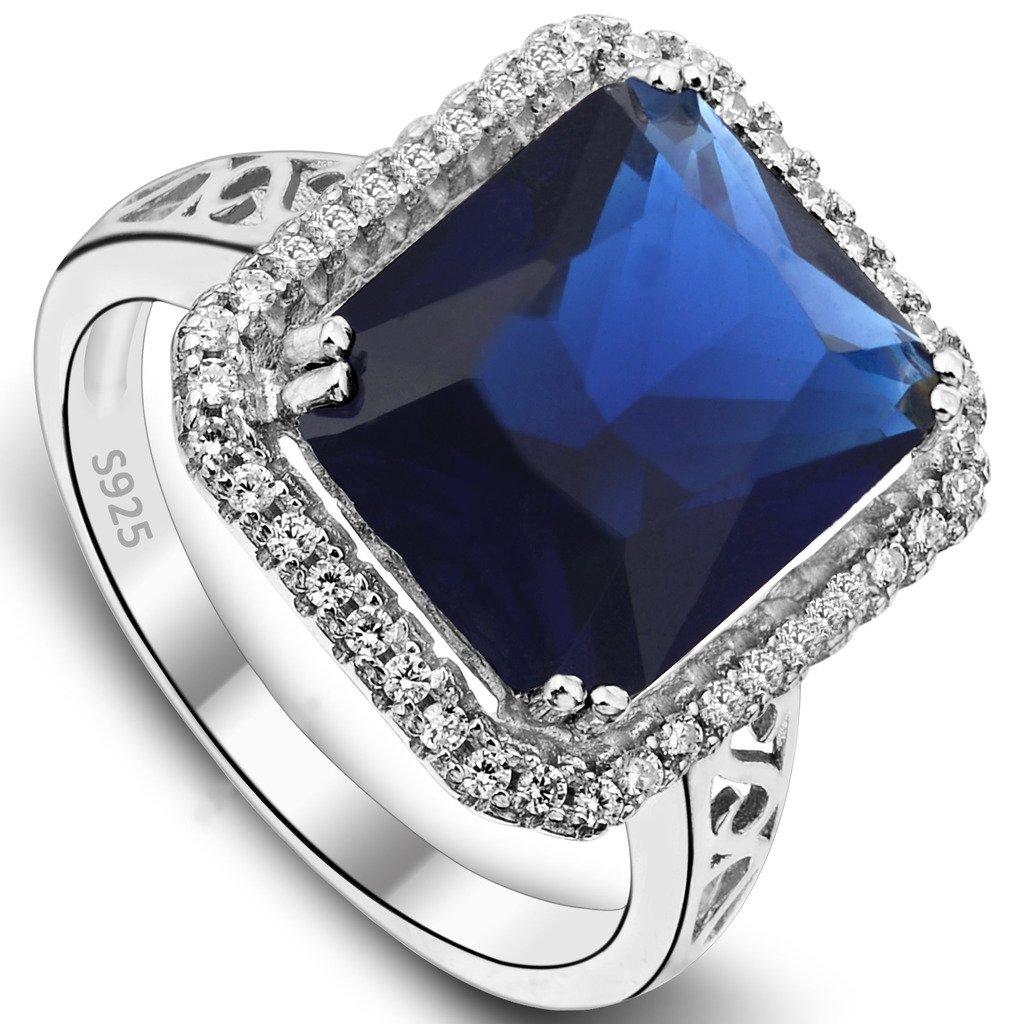 EVER FAITH 925 Sterling Silver Blue Sapphire Color 3 Carat Radiant Cut CZ Engagement Ring - Size 7