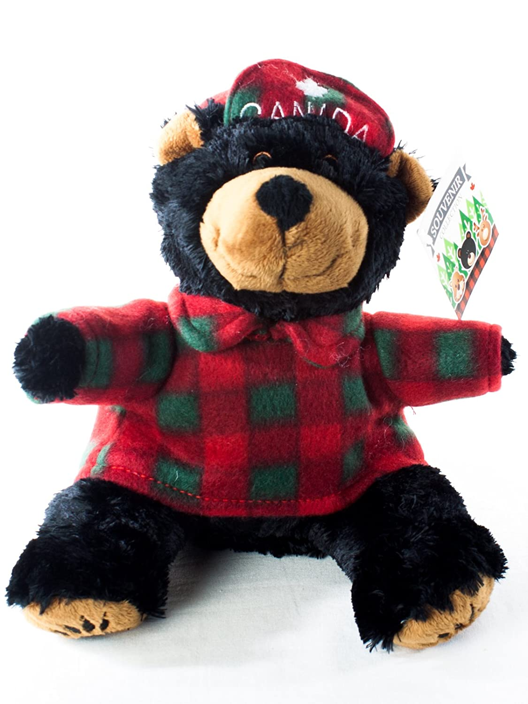 a352e871493 Plush Black Bear in Lumberjack Shirt and Canada Maple Hat (8 inch ...