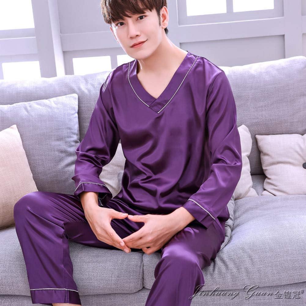 HIUGHJ Pijamas Traje de Pijama para Hombre de satén para Hombres de Seda Traje de Pijama de Manga Corta para Hombre Pijama para Hombre Ropa de Dormir Masculina Primavera Hombre Camisón XXXL Sueño