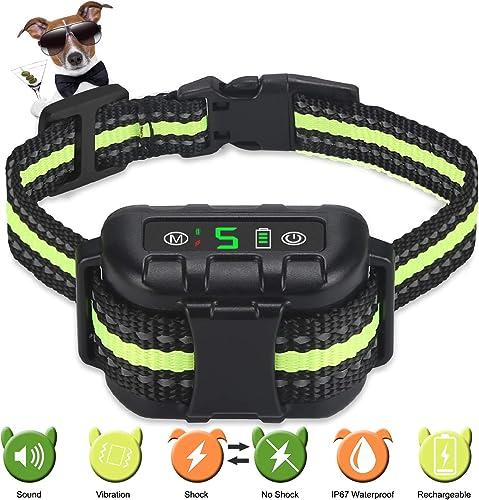 Nycetek Bark Collar No Bark Collar Rechargeable Anti bark Collar with Adjustable Sensitivity and Intensity Beep Vibration and No Harm Bark Collar for Small Medium Large Dogs