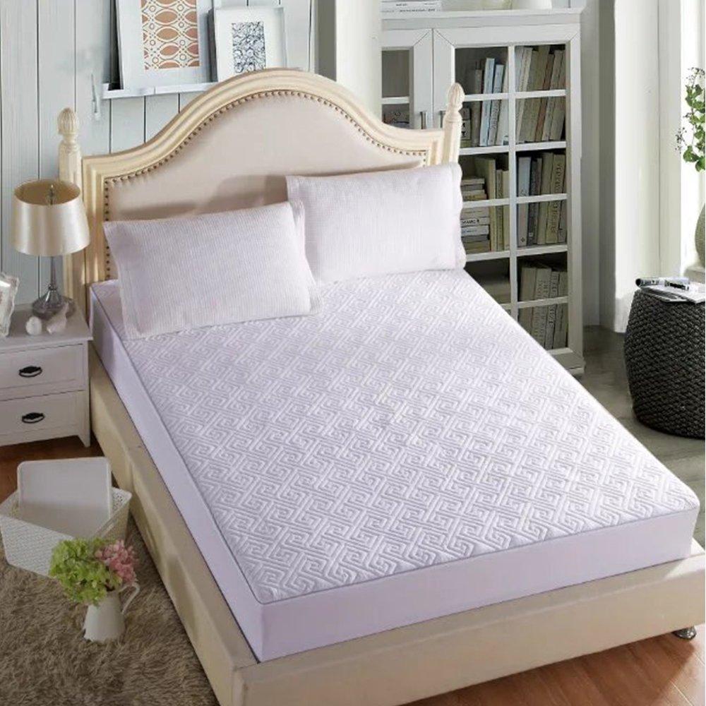 wonbye Mattress Pad Cover Down Alternative Mattress Topper Hotel Luxury Collection 300 Thread 100% Cotton (White / Queen)