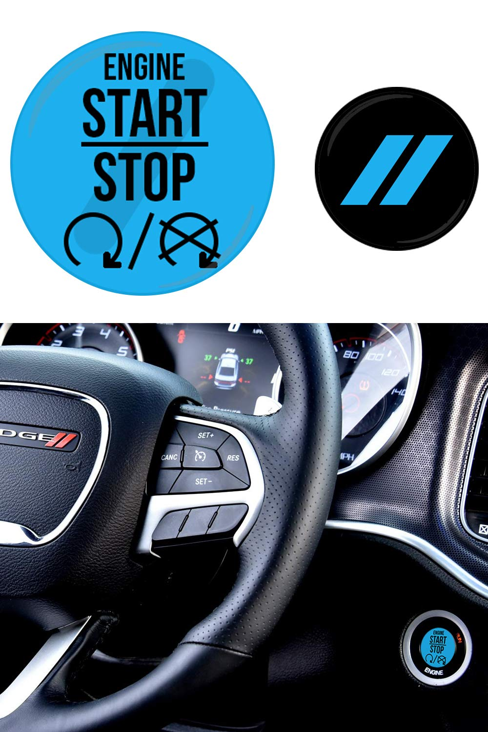 redred JDL Autoworks compatible with 2015-2019 Dodge Charger//Challenger Starter Button Decal Overlay Push to Start Button Badge Cover Accessories 3D Domed SRT Style Red Start Stop Sticker Emblem