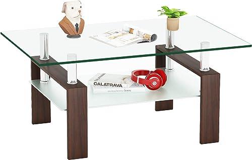 Meihua Rectangle Glass Coffee Table Modern End Table Metal Tube Legs