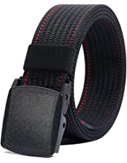 "Nylon Belt for Men, Military Tactical Belt with YKK Plastic Buckle, Durable Breathable Waist Belt for Work Outdoor Cycling Hiking Skiing,Adjustable for Pants Size Below 46inches[53""Long1.5""Wide]"