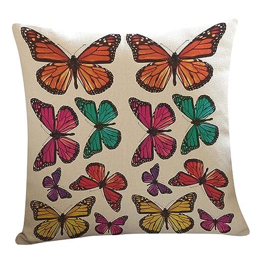 VJGOAL Retro Impresión Mariposa de Lino Suave Cojín Cuadrado Funda de Almohada Sofá Decoración para El Hogar(45_x_45_cm,Multicolor5)