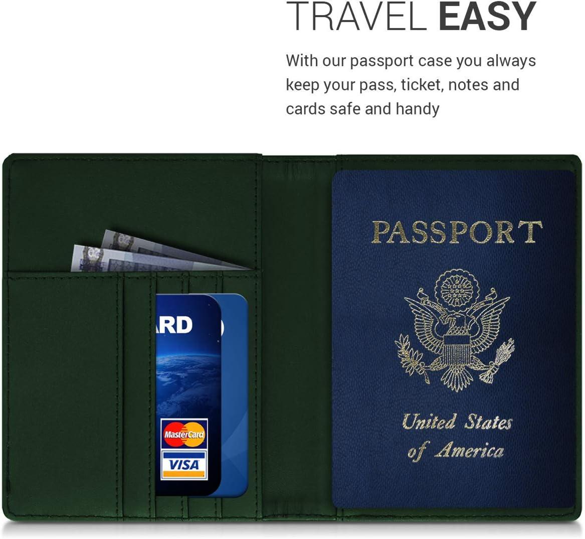 avec Emplacement Carte Bleue /Étui de Protection en Nylon Noir kwmobile Porte-Passeport avec Compartiments Cartes Portefeuille Passeport