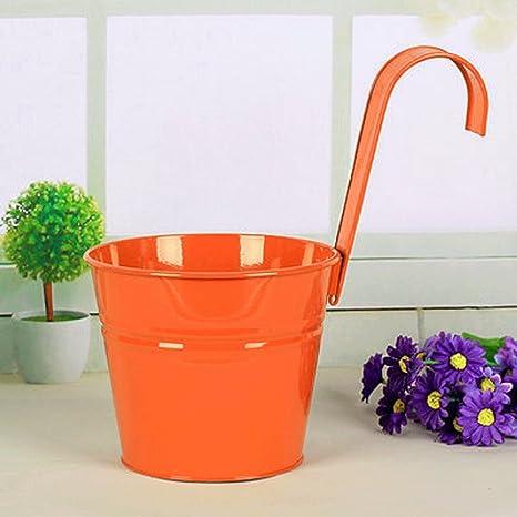 Amazon mr garden 3pack 6 inch flower pots garden pots balcony mr garden 3pack 6 inch flower pots garden pots balcony hanging planter iron bucket holders orange workwithnaturefo