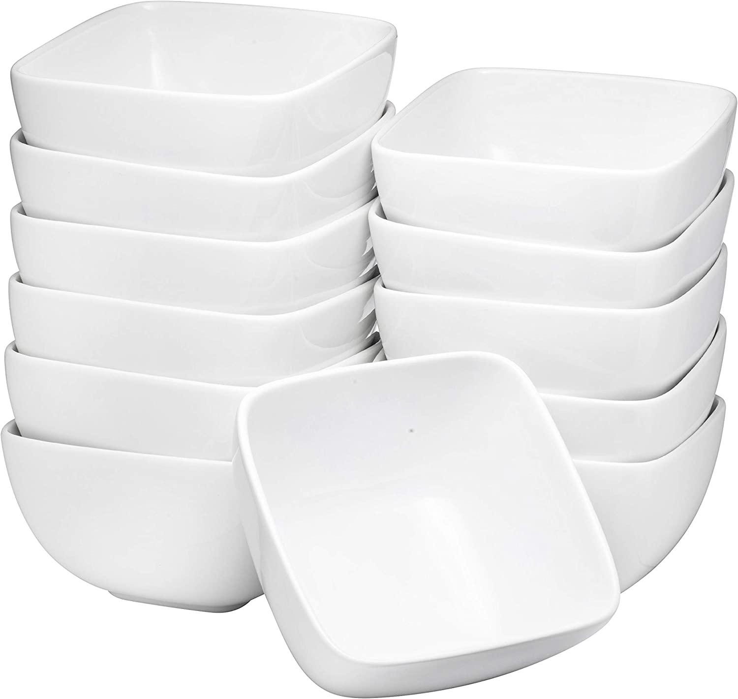 Bruntmor Large Ceramic Square Bowls 26 Oz Durable Non Toxic Ceramic Bowls Set Of 12 White Chip Resistant For Pasta Berries Soup Cereal Microwave Safe Appetizer Bowl Amazon Ca Home Kitchen