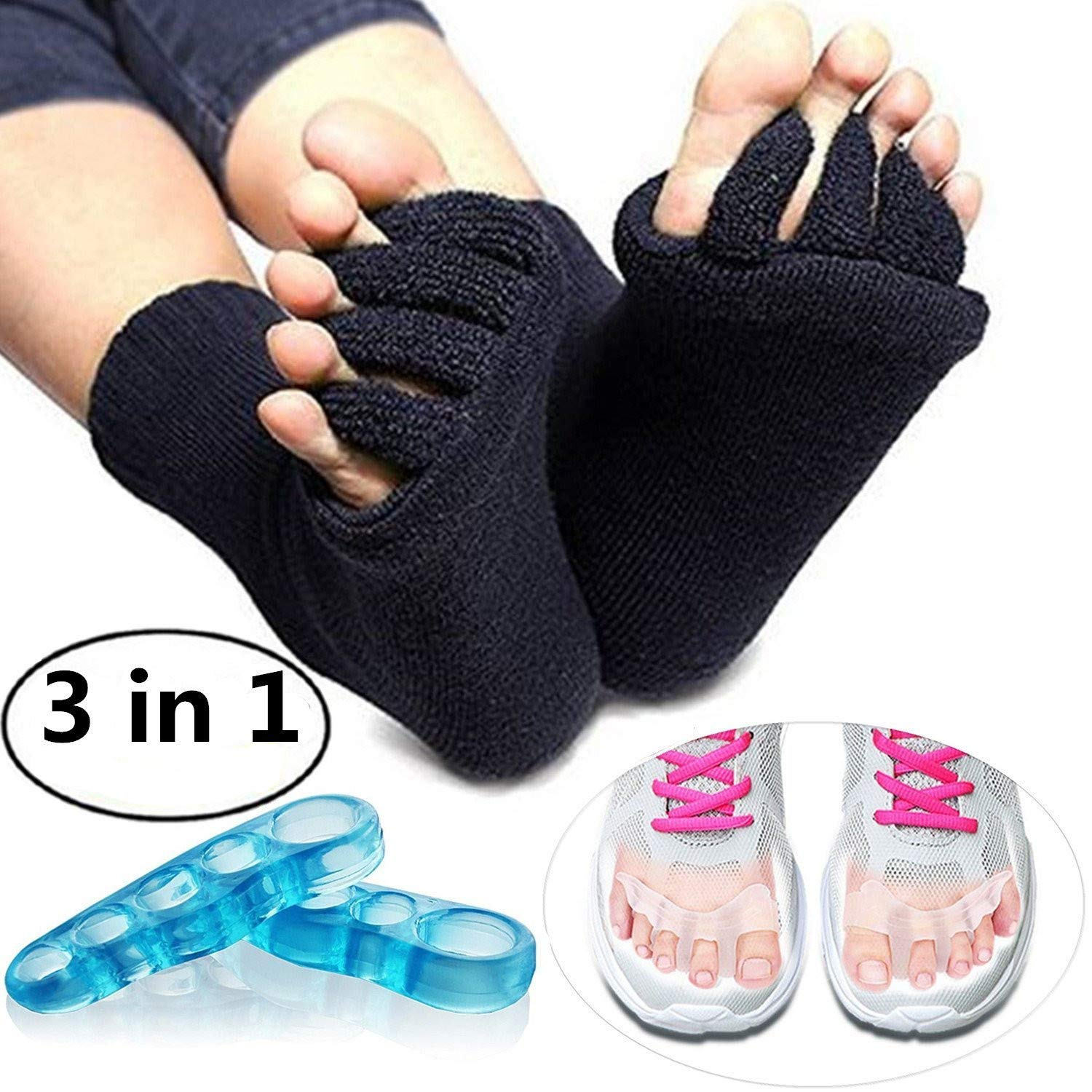 Toe Separators Set - 1 Pair, Toes Alignment Socks, Gel Toe Spacers Toe Stretchers, Instant Therapeutic Bunion Relief for Women and Men (Black)