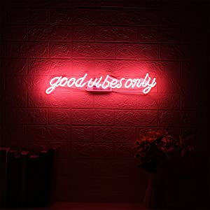 21 Inches Pink Good Vibes Only Glass Neon Signs Beer Bar Club Bedroom Neon Lights Sign for Office Hotel Pub Cafe Wedding Birthday Party Man Cave Neon Light Handmade Art Wall Decoration