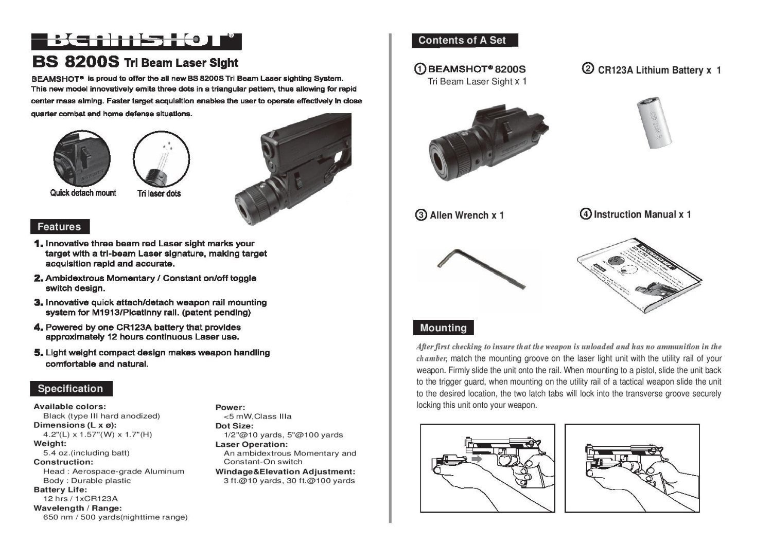 BEAMSHOT BS8200S Tri-Beam Laser Sight for Rapid Target Acquisition ...