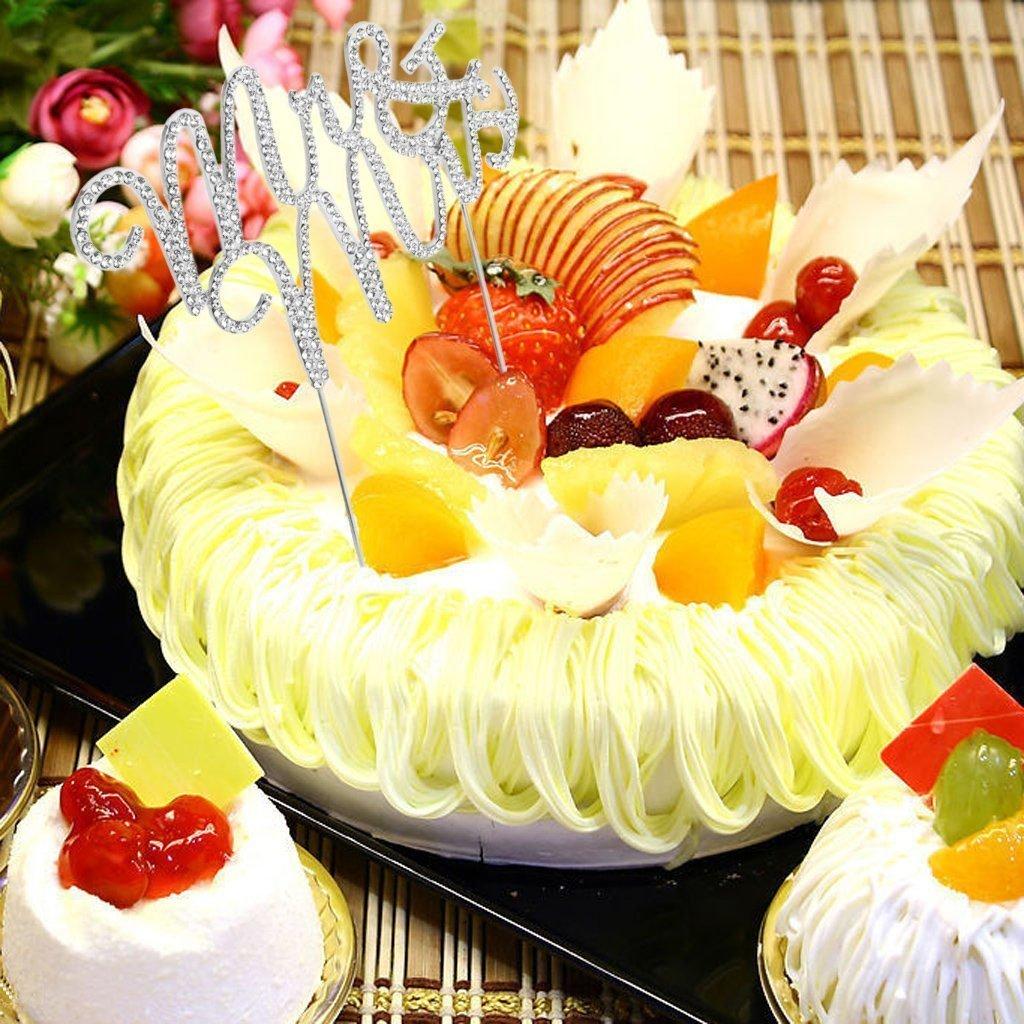 Amazon.com: yueton Crystal Rhinestone Cake Topper Wedding Monogram ...