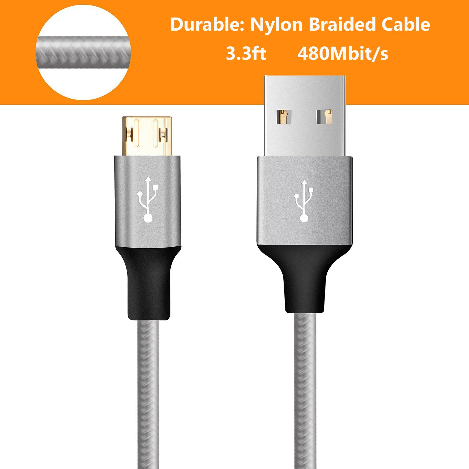Amazon.com: Omaker Reversible Micro USB Cables (2 Pack, 3.3ft) Nylon ...