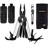 Leatherman WAVE Black/Silver With Nylon Sheath Limited Production + 42-Bit Assortment for Leatherman Bit Drivers + Leatherman Removable Pocket Clip Quick-Release Lanyard Ring