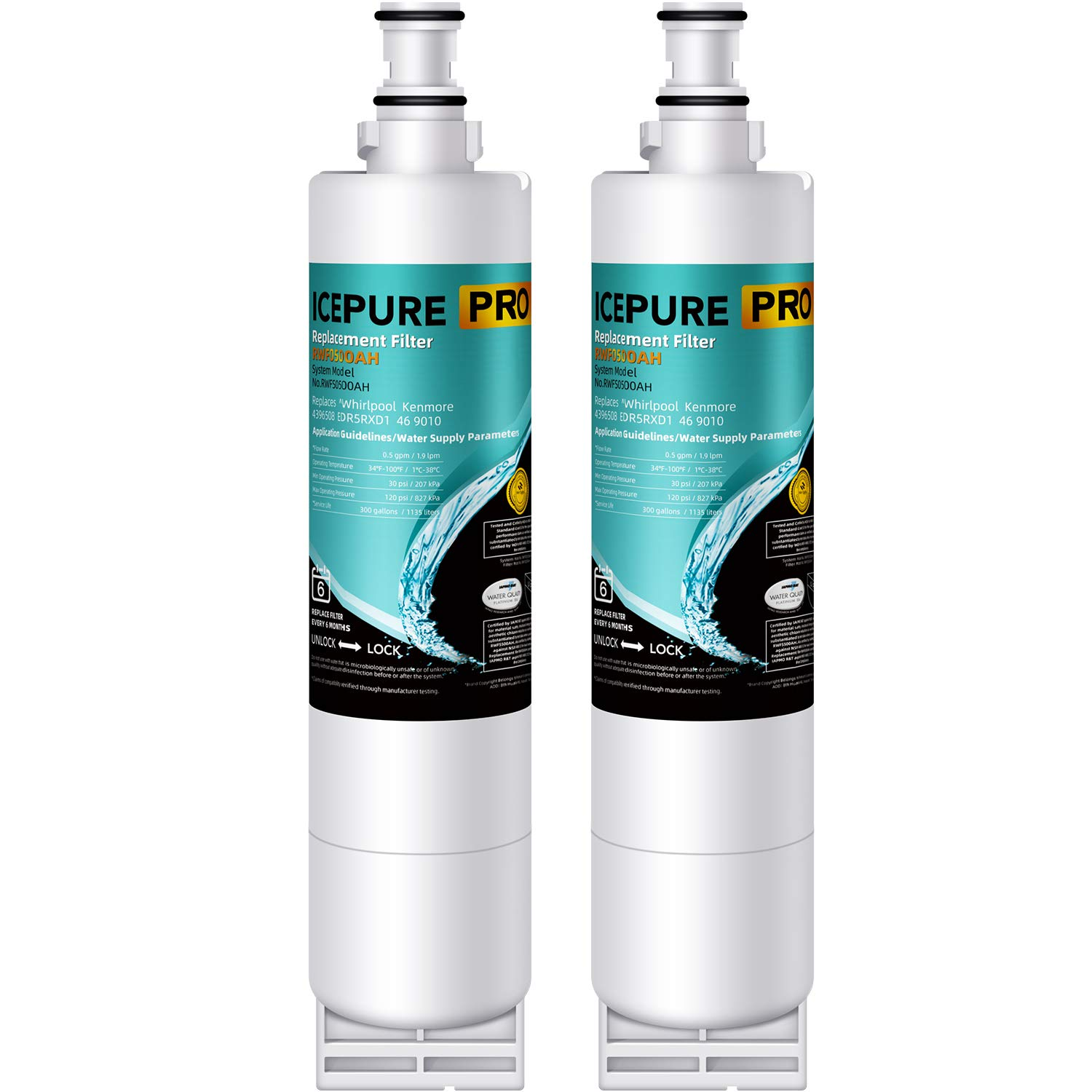 ICEPURE PRO 4396508 NSF53&42 Certified Premium Refrigerator Replacement Water Filter compatible with Whirlpool PUR 4396508 4396510 for Kitchenaid Maytag Whirlpool Side By Side Refrigerator (2 pack) by ICEPURE PRO