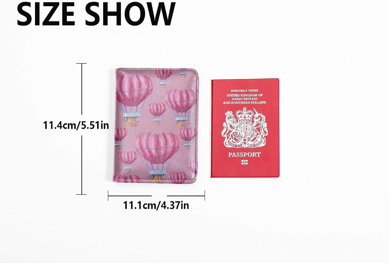 Case Passport Holder Cute Heart Shaped Hot Air Balloon Passport Holder Case Multi Purpose Print Passport Cover Holder Travel Wallets For Unisex 5.51x4.37 Inch