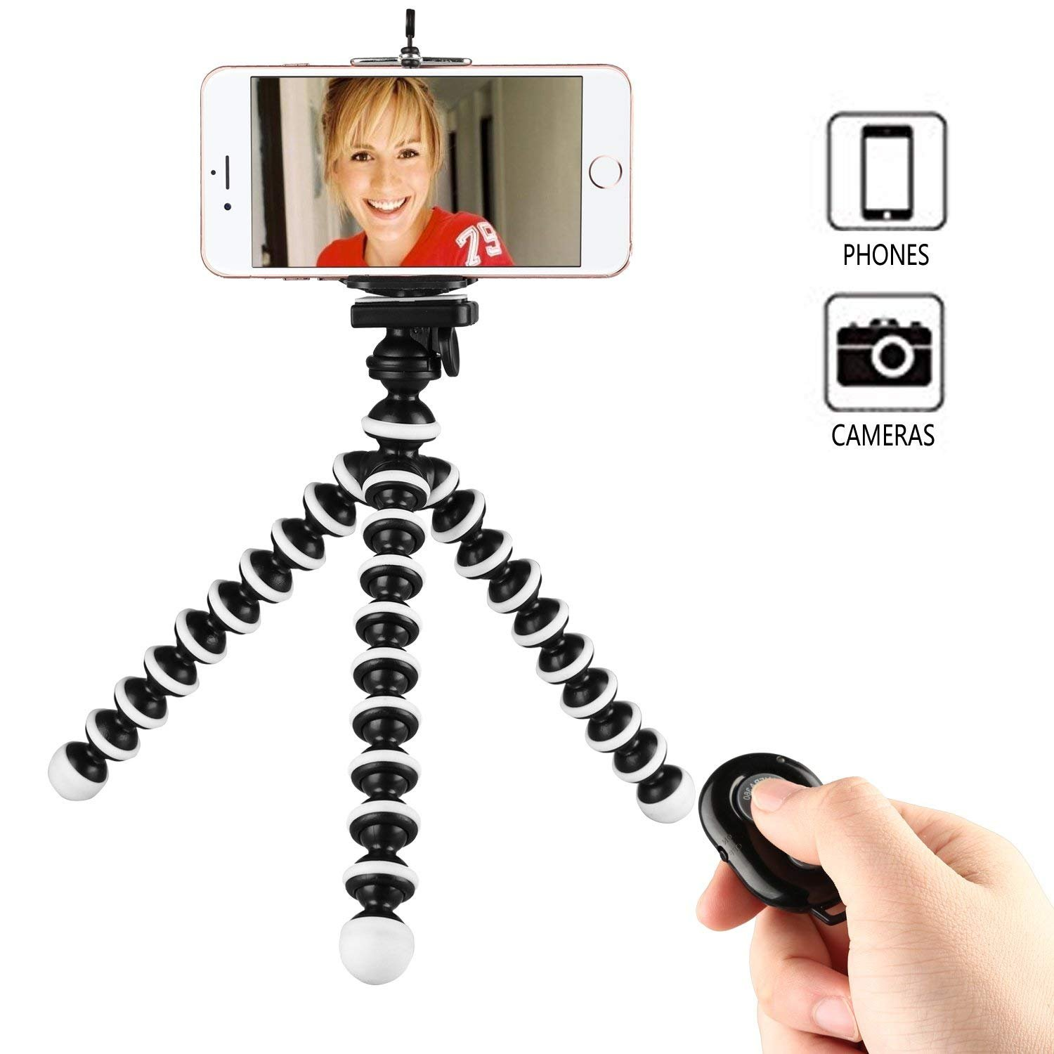 Phone Tripod,Crazefoto Octopus Style Portable and Adjustable Tripod Stand Holder with Universal Clip,for iPhone & Android Phone, Camera, and Gopro(Black White)