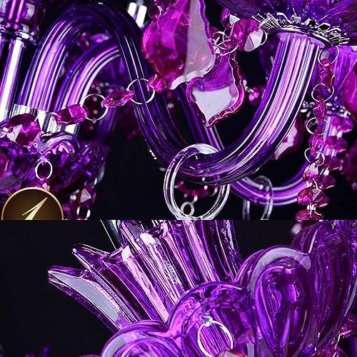 LAKIQ Crystal Modern Chandelier Lighting Fixtures Living Room Bedroom Pendant Light Hanging Ceiling Lights Candle Candelabras Shape for Dining Room Purple, 8 Lights