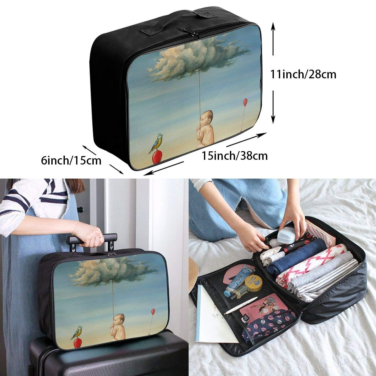 Travel Luggage Duffle Bag Lightweight Portable Handbag Surreal Art Print Large Capacity Waterproof Foldable Storage Tote