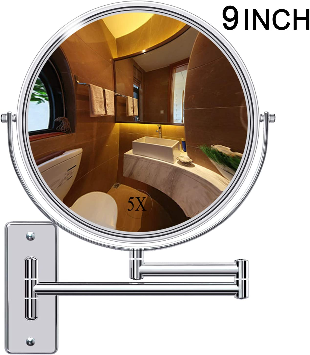Gospire 9 Large Size Wall Mount Makeup Mirror with 5X Magnification Double-Sided Swivel Mirror Polished Chrome Finished