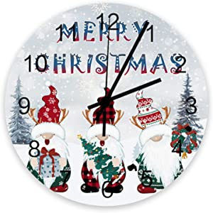 Wall Clock 12 Inch Silent Non Ticking Christmas Gnome Tree Snowflake Battery Operated Easy to Read Wooden Round Clock Home Decoration for Living Room/Bathroom/Kitchen/Bedroom Red White Green