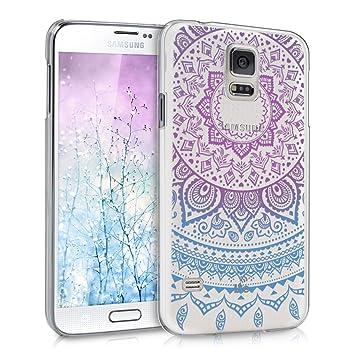 kwmobile Funda para Samsung Galaxy S5 / S5 Neo - Carcasa de [plástico] para móvil - Protector [Trasero] en [Azul/Rosa Fucsia/Transparente]