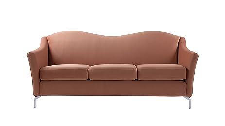 Sandy Wilson Home, Camelback Sofa, Orange, Velvet, Metal Legs