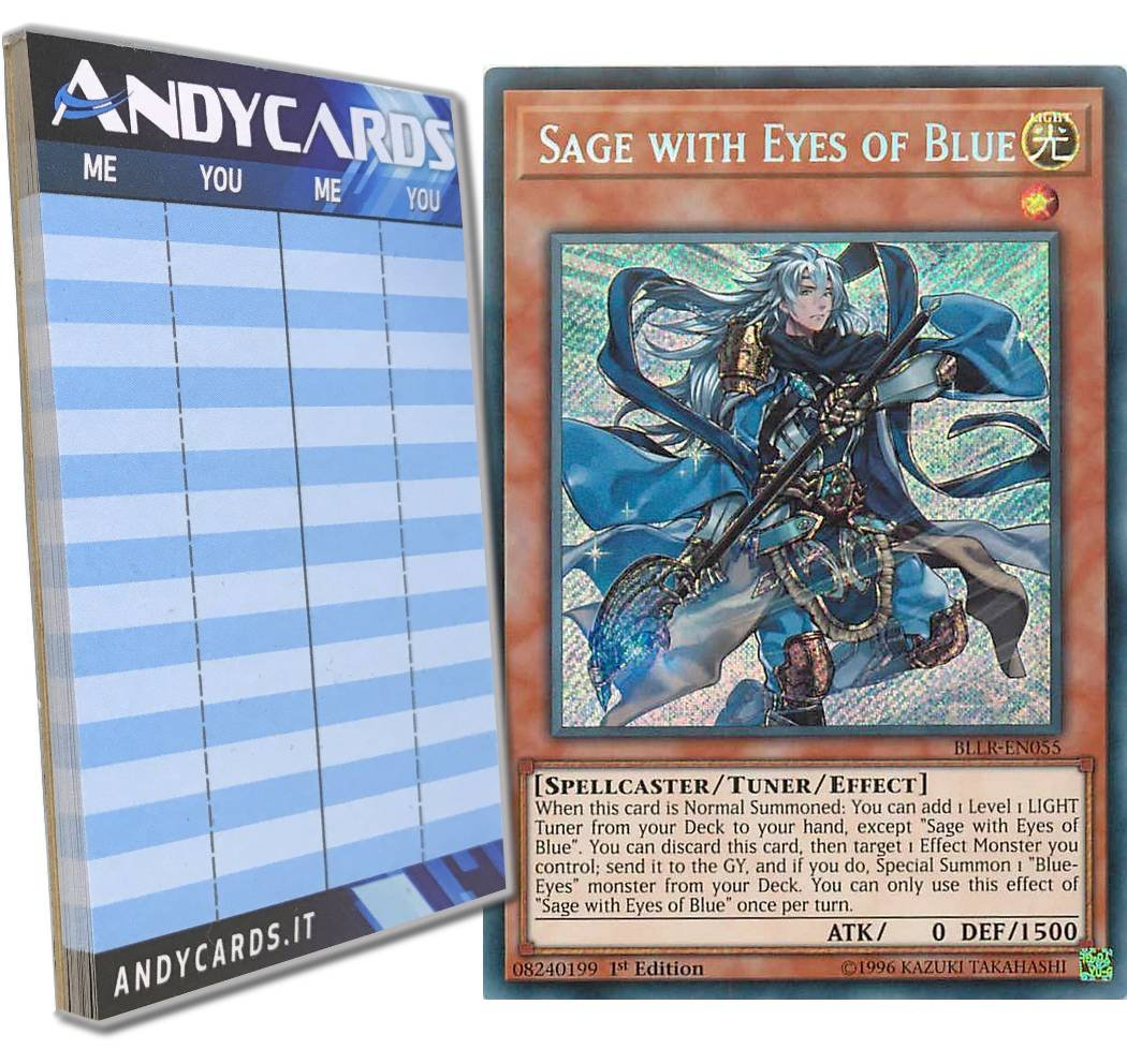 Yu-Gi-Oh! - SAGE WITH EYES OF BLUE - Secret BLLR-EN055 in ENGLISH + Andycards Scorepad