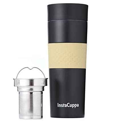 a409c38e47b Buy InstaCuppa Vacuum Insulated Coffee, Tea Travel Mug 470 ML, Stainless  Steel Infuser Unit, Sipper Lid with Filter, Silicon Grip Online at Low  Prices in ...