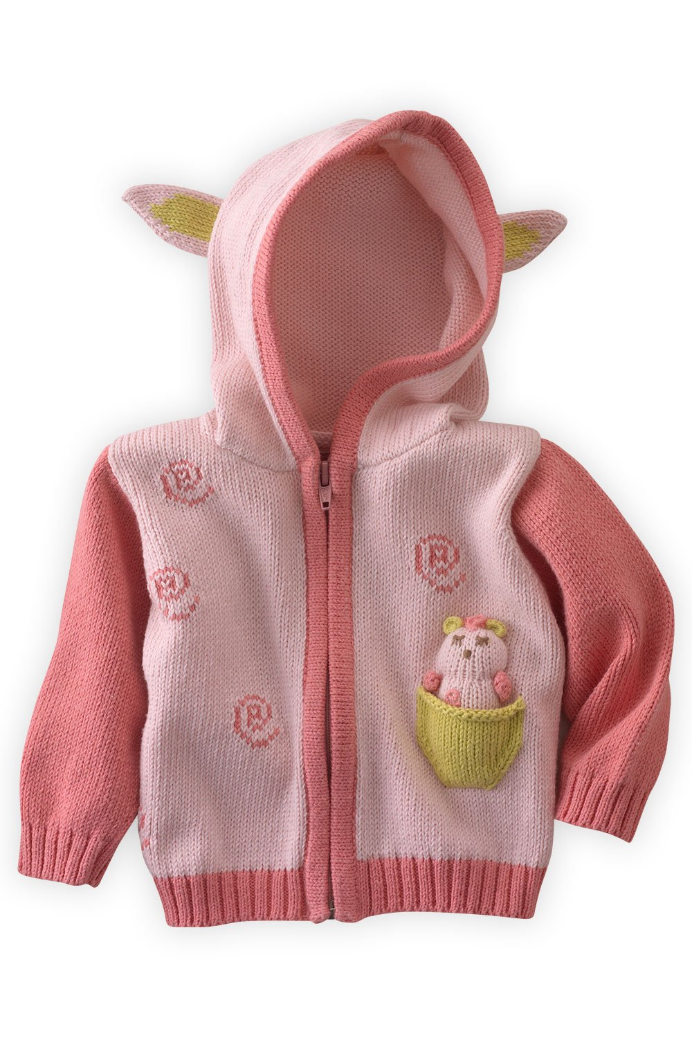 Joobles Organic Baby Cardigan Sweater - Cutie The Lamb (12-18 Mos) Pink by Joobles
