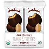 Justin's Organic Dark Chocolate Peanut Butter Cups, Rainforest Alliance Certified Cocoa, Gluten-free, Responsibly…