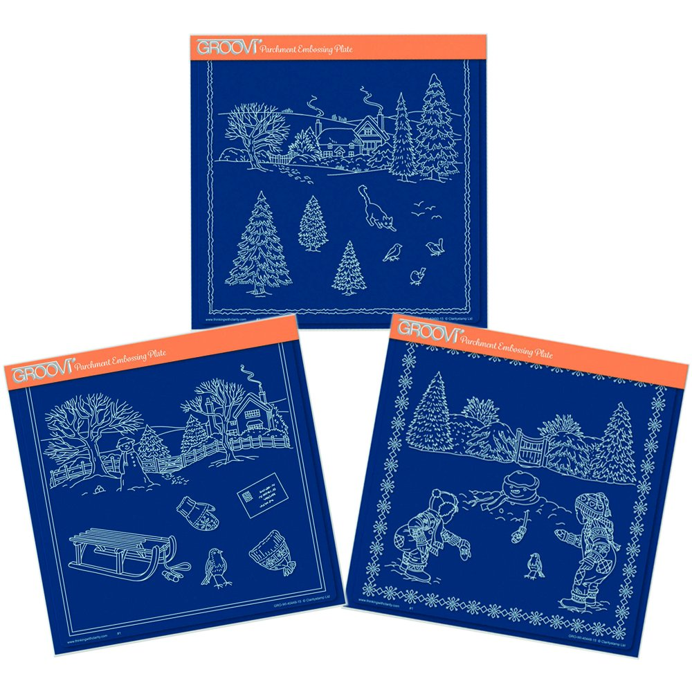 Groovi A4 Square Plates - Winter Scenes Collection (Set of 3) Claritystamp