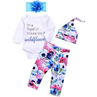 Newborn Infant Baby Girl Letters Long Sleeve Romper+ Floral Pants+Hat+Headband Outfits Clothes Set