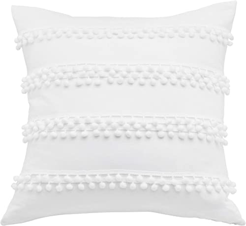 Trina Turk Pom Throw Pillow, 20×20, White