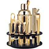 X-cosrack 18-Piece Bar Set,Gold Cocktail Shaker Set for Drink Mixing:Stainless Steel Bar Tools with Rotating Stand,Profession