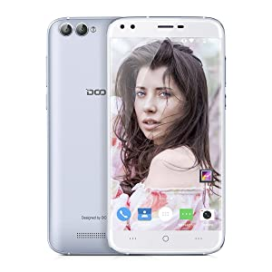 "DOOGEE X30 Smartphone 3G Android 7.0 (MT6580 Quad Core 1.3GHz, 5.5"" IPS HD 2.5D Glass Schermo, 2GB RAM 16GB ROM, 8MP+8MP+5MP+5MP Quad-Camera, Dual SIM, 3360mAh Batteria, GPS, WIFI, OTA, Gesti intelligenti, Bluetooth, Sblocco Gesto) Argento"