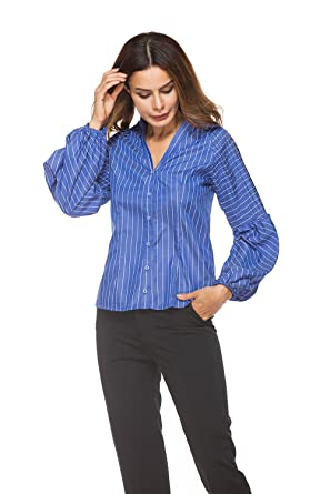 JEYKAY Women s Long Sleeve Tunic Slim Stripe Shirt with Ball Cuff (Blue  Stripe 913050dfe
